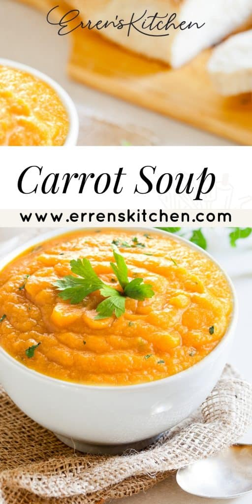 carrot soup in a bowl topped with fresh herbs
