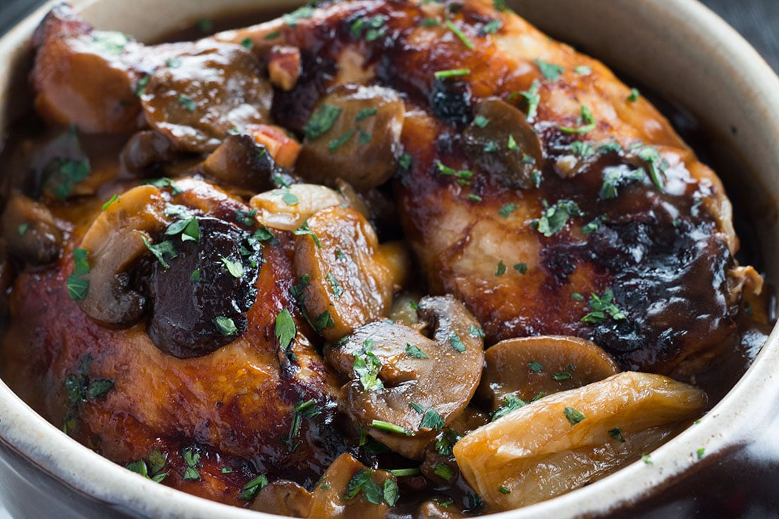classic coq au vin comforting and packed with deep rich flavor. Black Bedroom Furniture Sets. Home Design Ideas