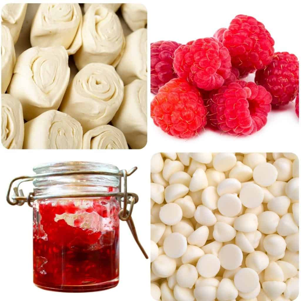 ingredients for raspberry tart: pastry, raspberries, jam and white chocolate chips
