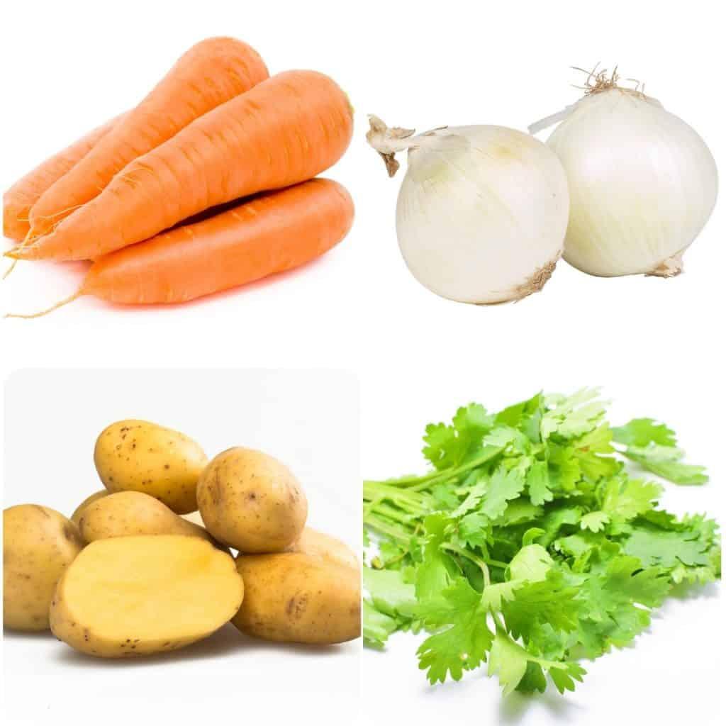 carrots, onion, poatoes and cilantro