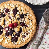 Raspberry and White Chocolate Shortbread Tart