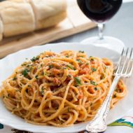 Skinny Spaghetti with Tomato Cream Sauce