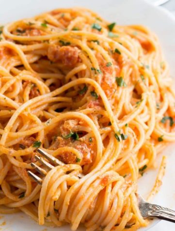 Spaghetti with Skinny Tomato Cream Sauce
