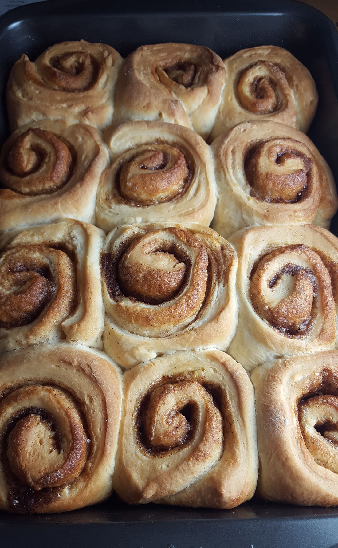 Golden brown Freshly baked vanilla bean cinnamon buns