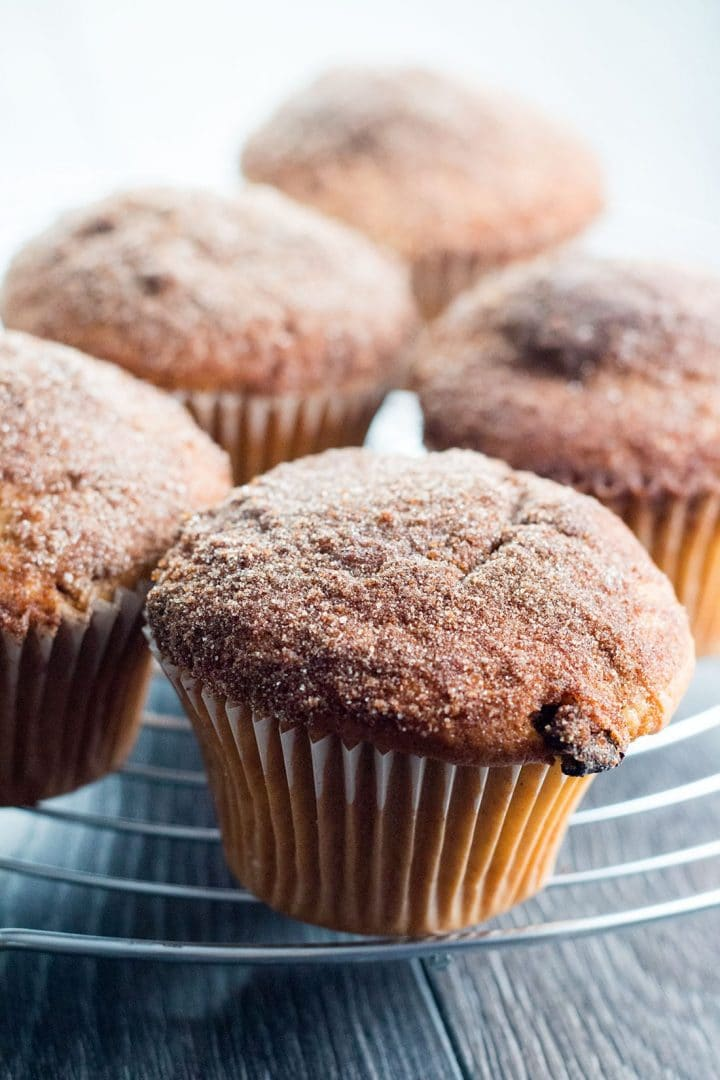 Cinnamon Sugar Jumbo Muffins Topped with Cinnamon Sugar on a cooling rack ready to serve