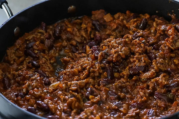 Classic Chili Con Carne cooked in the pan