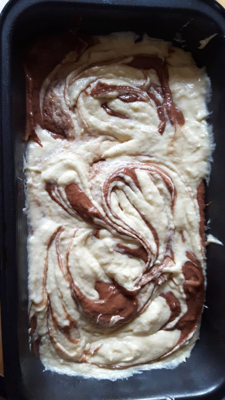 the batter swirled together