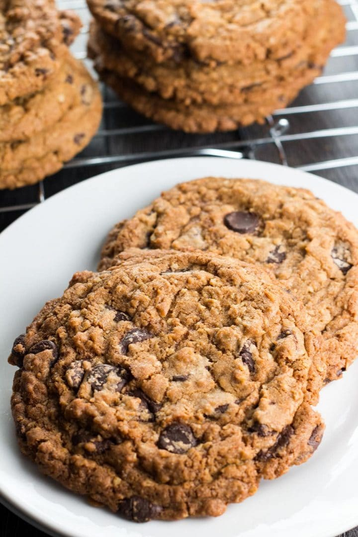 two Chocolate Chip Oatmeal Cookies ready to eat on a plate