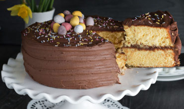 Yellow Celebration Cake with Chocolate Frosting