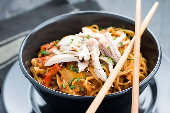 Thai Curry Noodles With Chicken Comfort Food In A Bowl