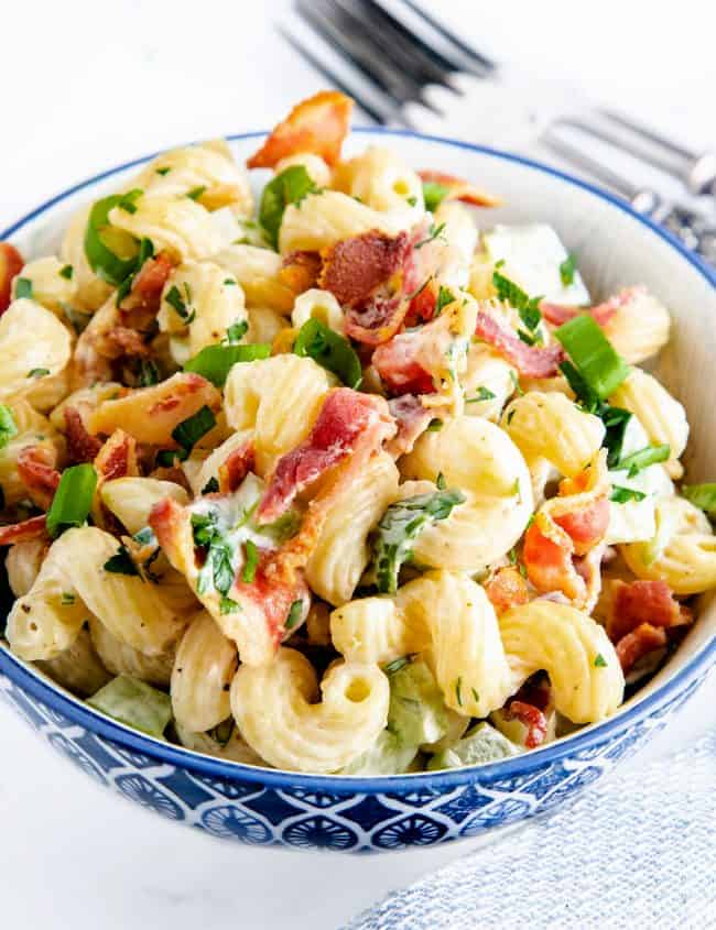 pasta salad with bacon ready to eat