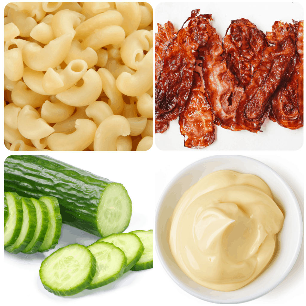 a collage of ingredients for pasta salad