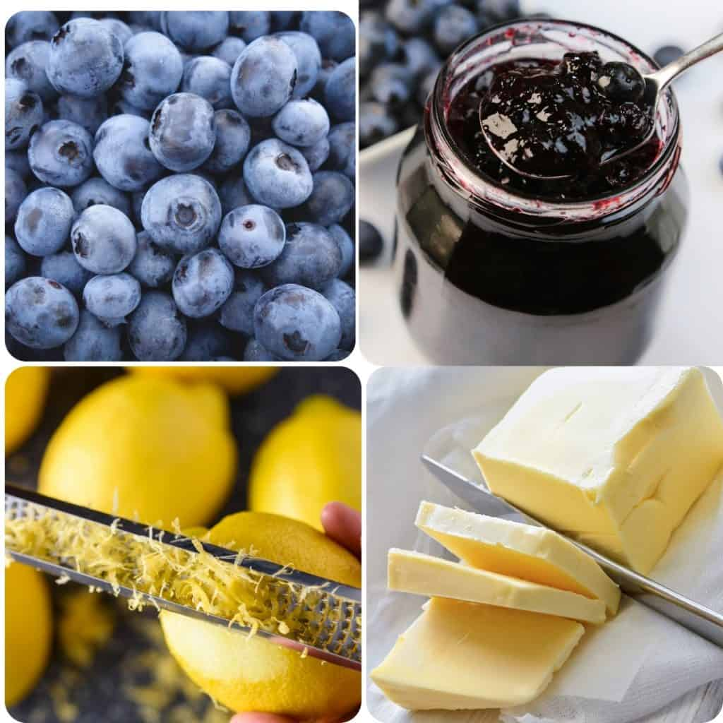 blueberries, a jar of jam, lemon zest, and butter