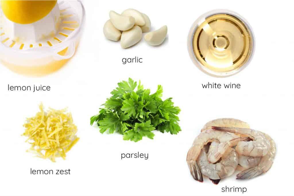 a photo with garlic lemon juice parsley, lemon zest, white wine, butter, and shrimp