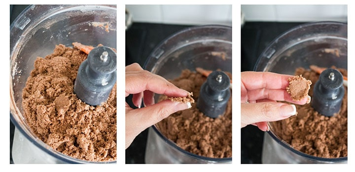 a close up of a food processor bowl with the wet ingredients mixed into the dry. a second photos showing it being pressed and a third showing it holding shape