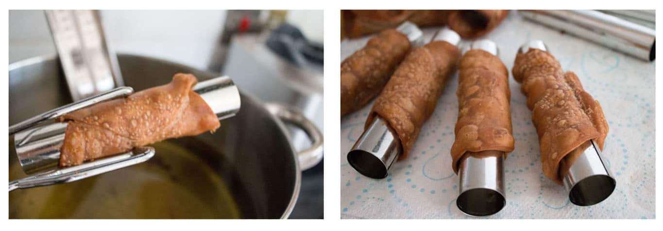 A pair of tongs removing the cannoli shell from the oil