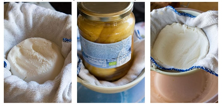 three photos showing various stages of pressing the water from the cheese