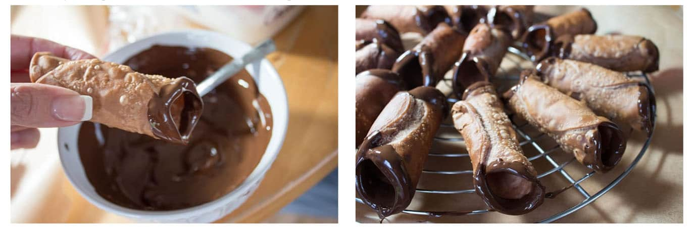 A close up of a cannoli shell with one end dipped in melted chocolate and a second photo showing them setting on a rack