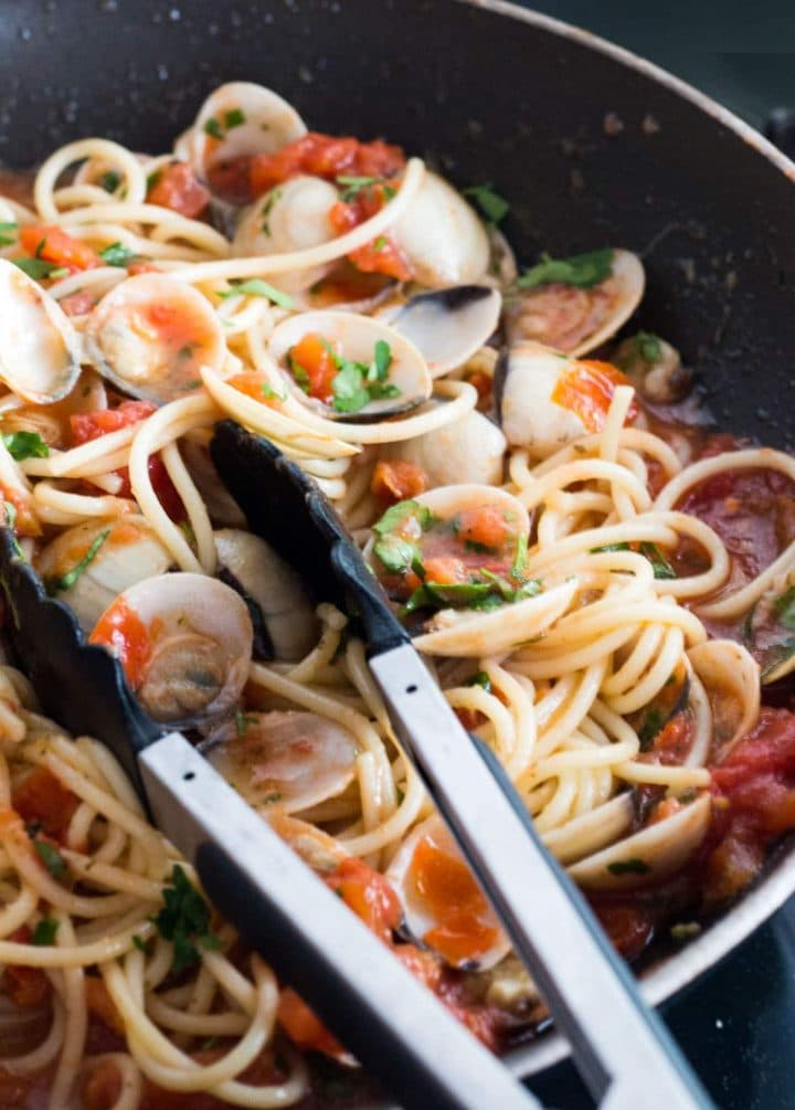 The Spaghetti added to the pan with the Red Clam Sauce