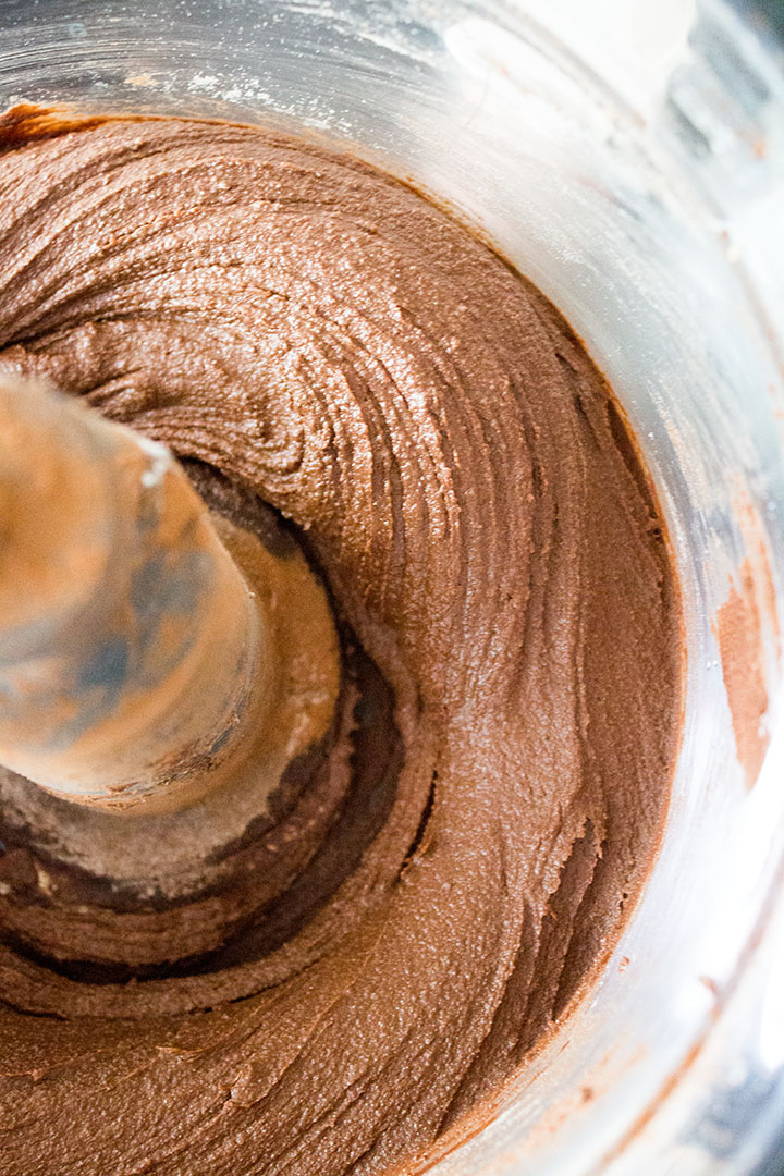 A close up of the Chocolate hazelnut Cookie dough mixed in a bowl