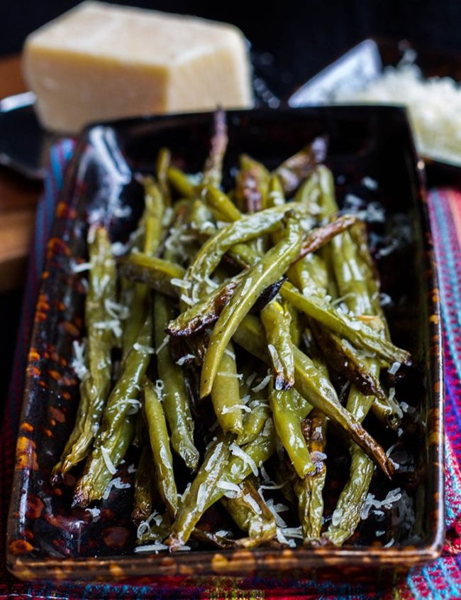 garlic roasted fresh green beans piled high on a serving dish