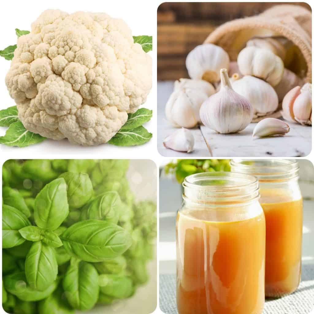 Cauliflower, garlic, basil and jars of chicken stock