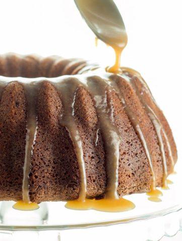 Brown Sugar Bundt Cake with Caramel Glaze