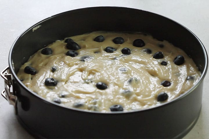 Blueberries added to the top of the batter in the pan