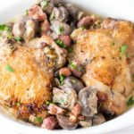 Creamy Chicken with Bacon & Mushrooms in a dish packed full of bacon and mushrooms.