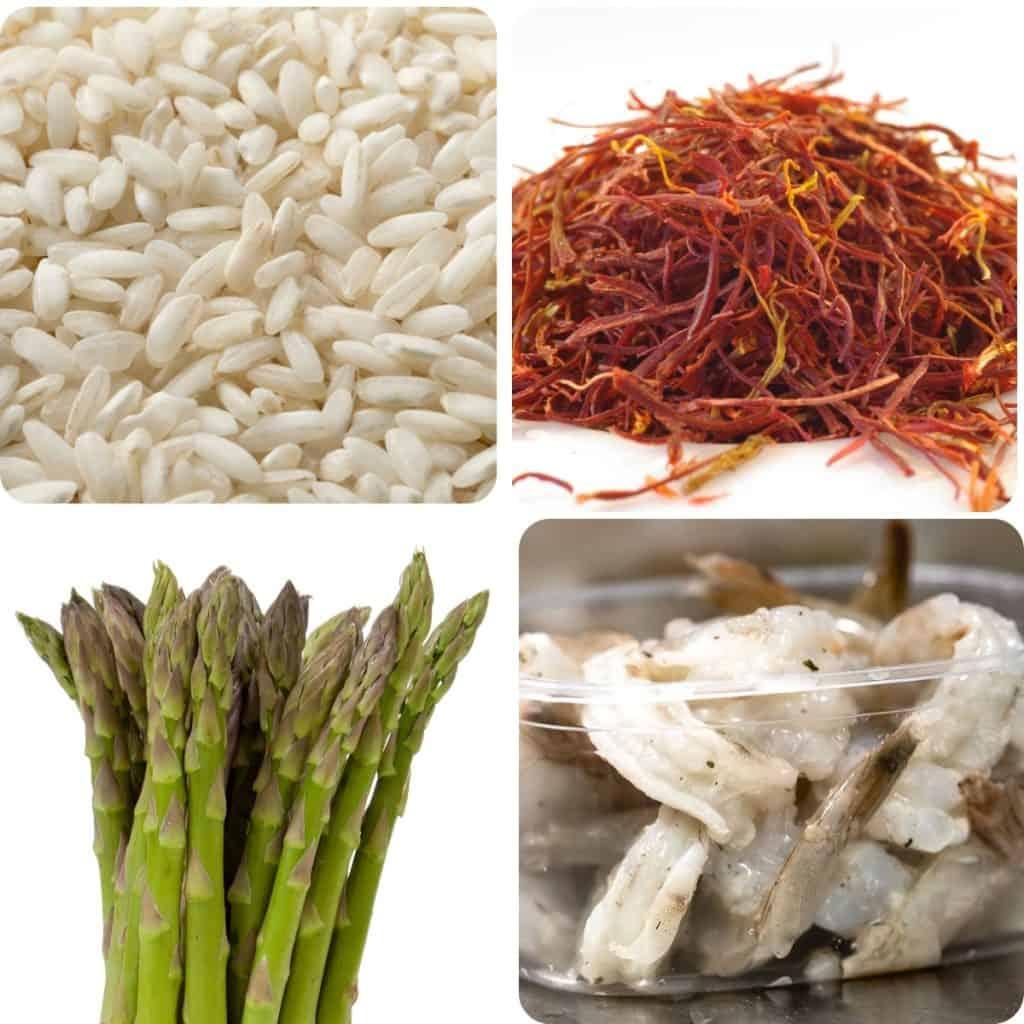 a photo of rice, saffron threads, asparagus, and raw shrimp
