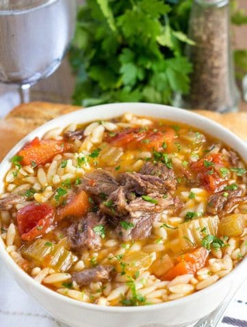 Slow Cooker Oxtail Orzo Soup