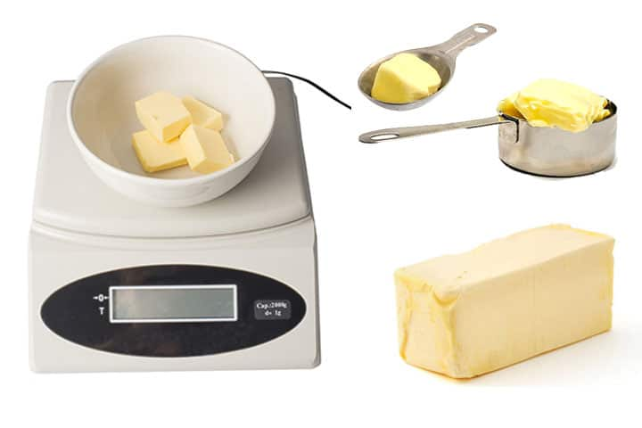 a photo of a scale weighing butter, a tablespoon with butter in it and a cup of butter