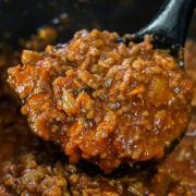 The cooked Greek Style Meat Sauce {Makaronia Me Kima} ready to serve