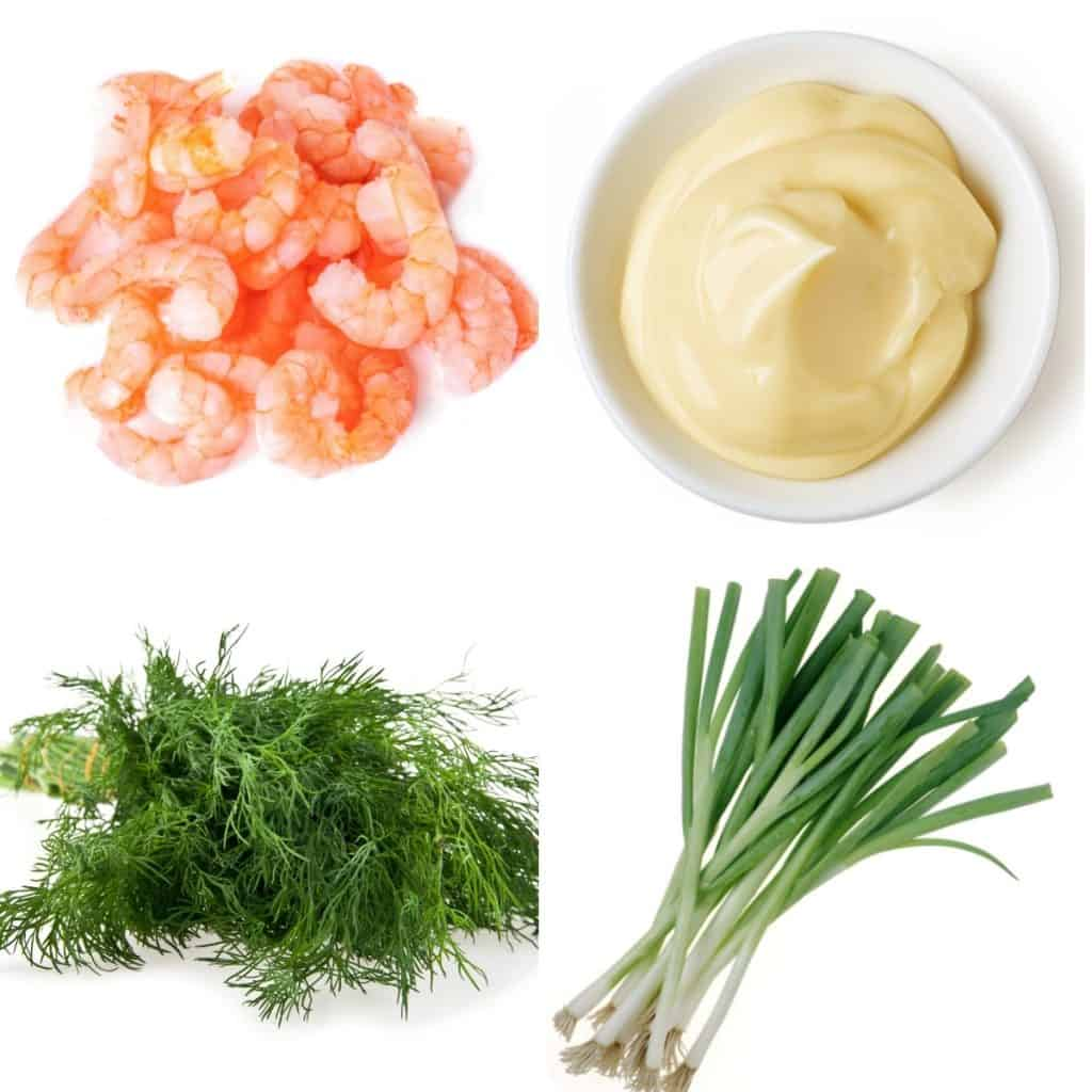 ingredients for shrimp salad, shrimp, mayonnaise, dill and green onions