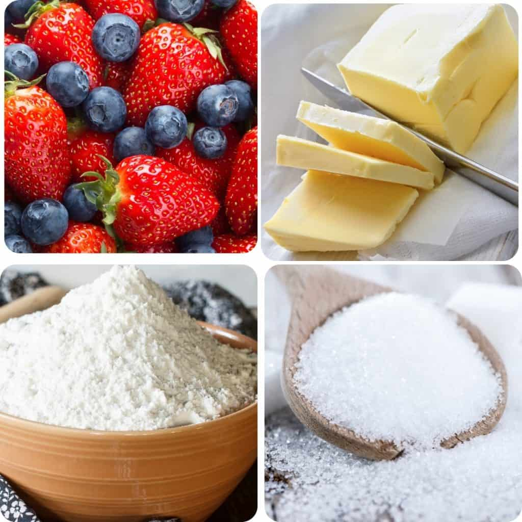 berries, butter, flour and sugar in a block of 4 photos