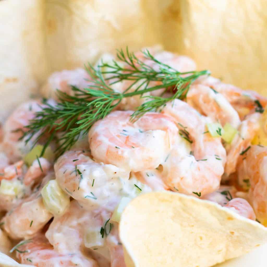 shrimp salad in a tortilla bowl