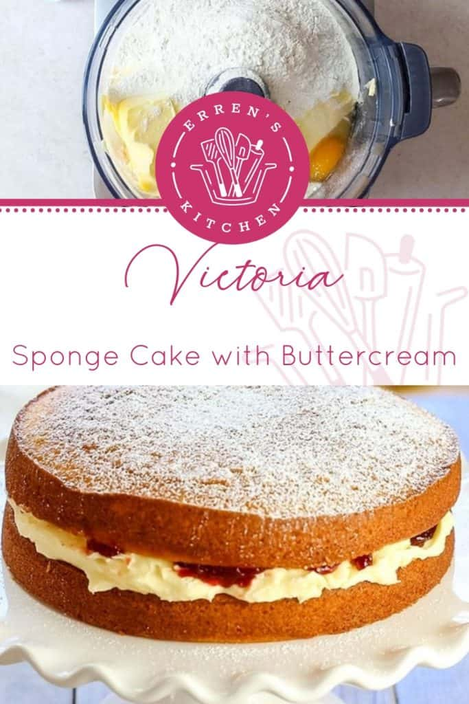 Victoria Sponge Cake with Buttercream split picture with ingredients in mixer and finished cake