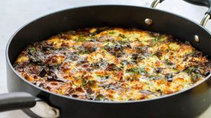The Baked Eggplant Frittata with Red Onion, Peppers & Feta freshly baked in the pan