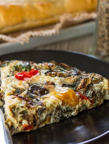 Baked Eggplant Frittata with Red Onion, Peppers & Feta