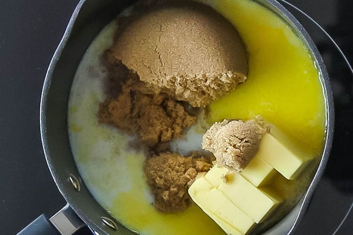 the butter, brown sugar, and milk in a medium saucepan