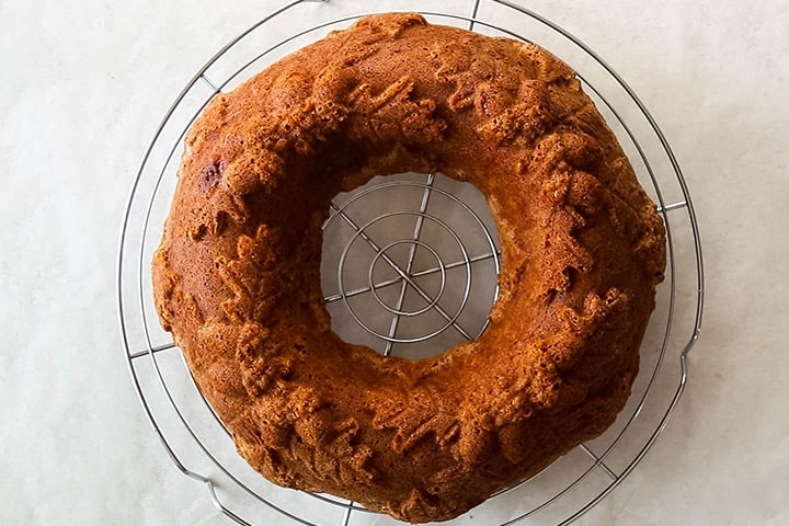 Apple Bundt Cake cooling on a cooling rack