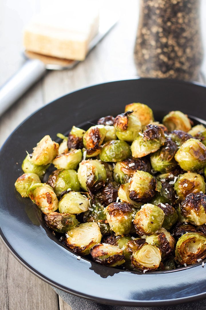 Roasted Brussels Sprouts Piled high in a bowl