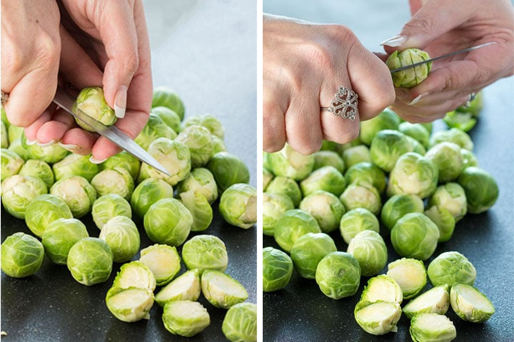 two photos of Brussels sprouts being prepped