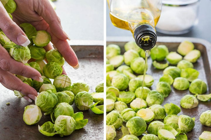 Two photos of Brussels sprouts being put on the pan and oil being poured on