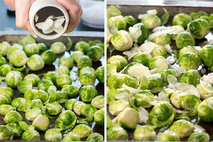 Two photos of the garlic being added to the pan