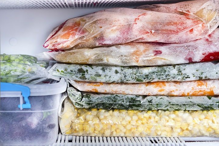 Frozen foods on the freezer shelves.