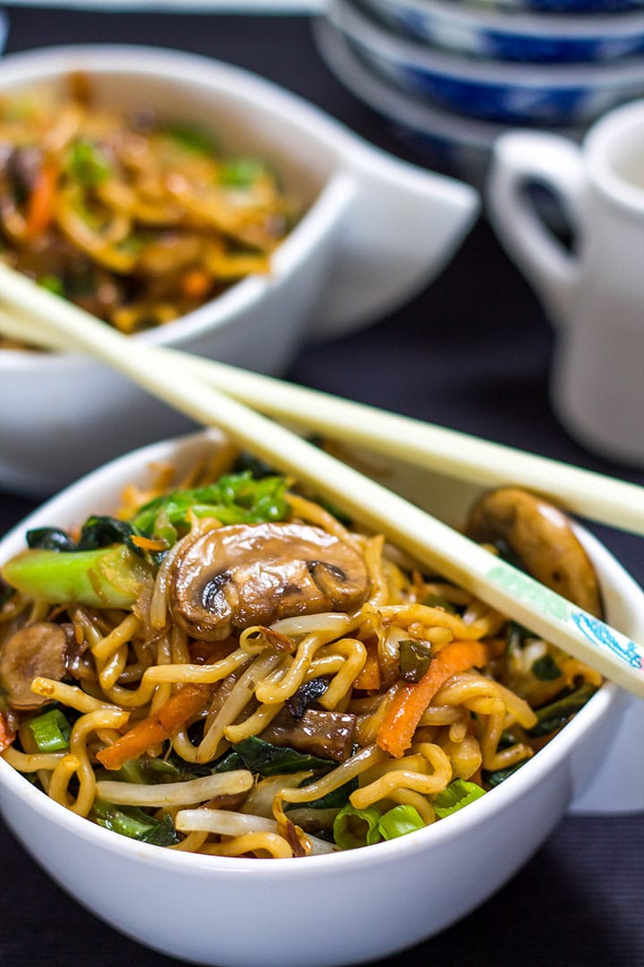 Perfect Chinese Noodles {Lo Mein} in a bowl with chopsticks