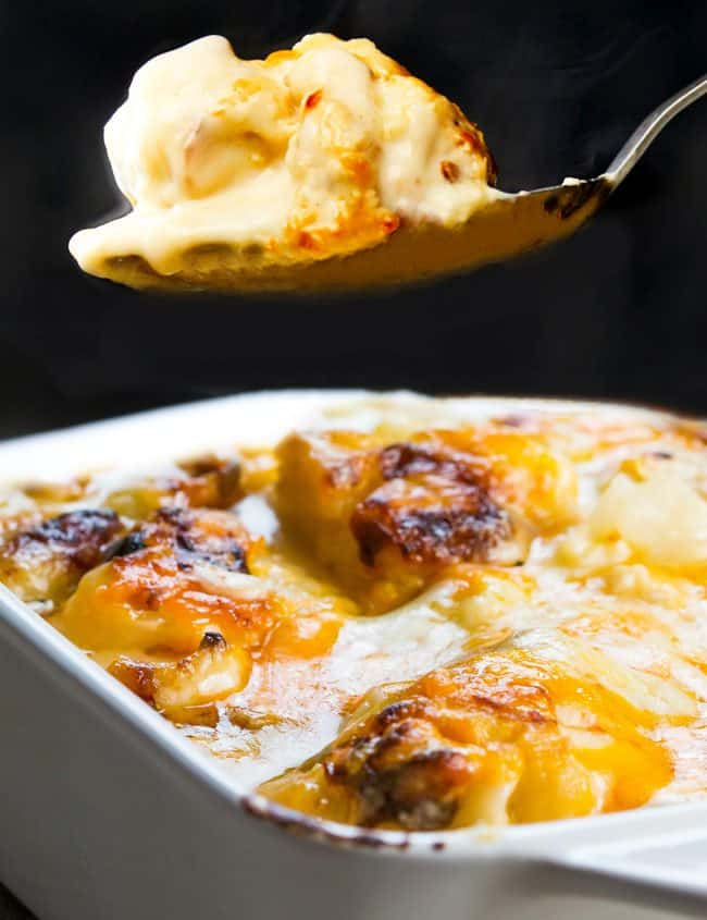 a spoonful of cauliflower with cheese sauce over a dish of Cauliflower Cheese