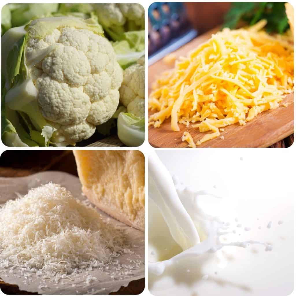 cauliflower, cheddar cheese, grated cheese and milk