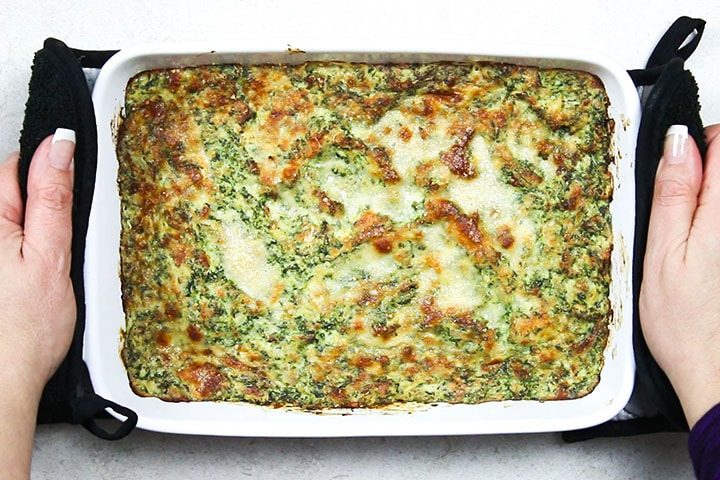 Hot Eggplant and Spinach Dip fresh from the oven